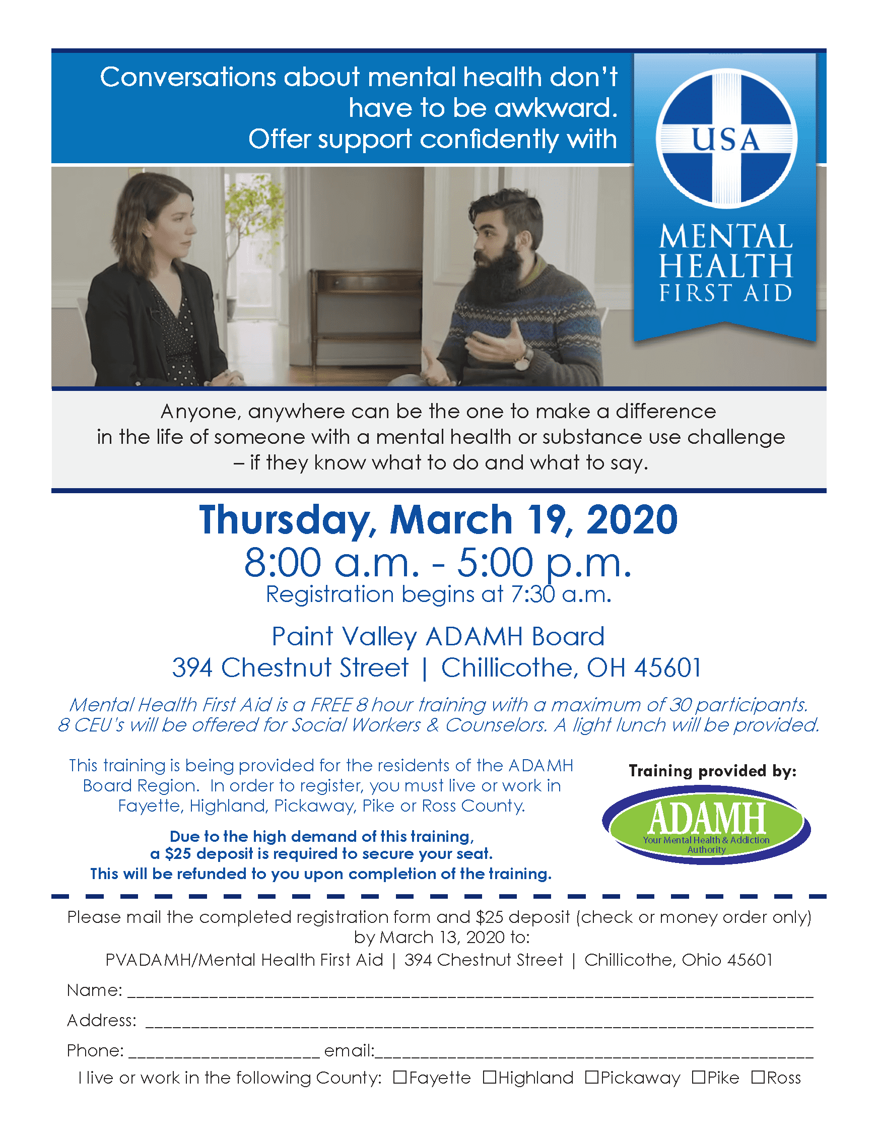 031920 Mental Health First Aid Ross Co